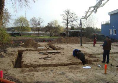 Aushub der Fundamentgräben für die Bodenplatte